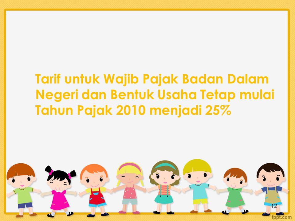 Tarif untuk Wajib Pajak Badan Dalam Negeri dan Bentuk Usaha Tetap mulai Tahun Pajak 2010 menjadi 25% 12