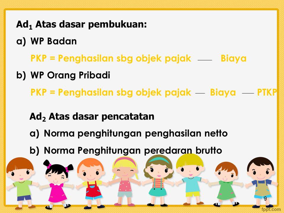 9 Ad 1 Atas dasar pembukuan: a)WP Badan PKP = Penghasilan sbg objek pajak Biaya b)WP Orang Pribadi PKP = Penghasilan sbg objek pajak Biaya PTKP Ad 2 A