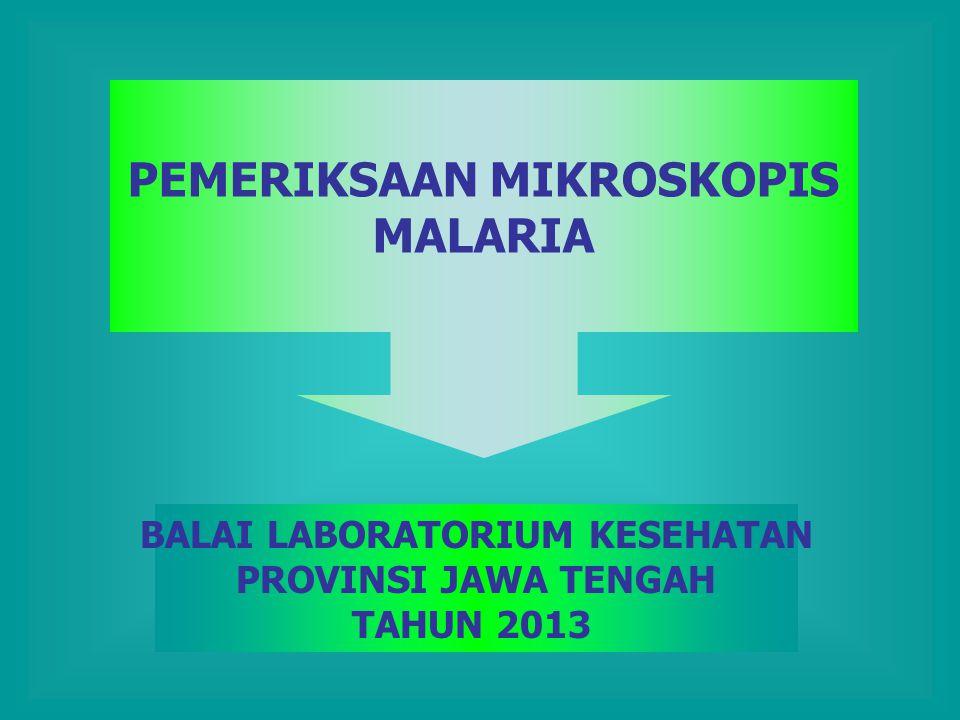 PEMERIKSAAN MIKROSKOPIS MALARIA BALAI LABORATORIUM KESEHATAN PROVINSI JAWA TENGAH TAHUN 2013