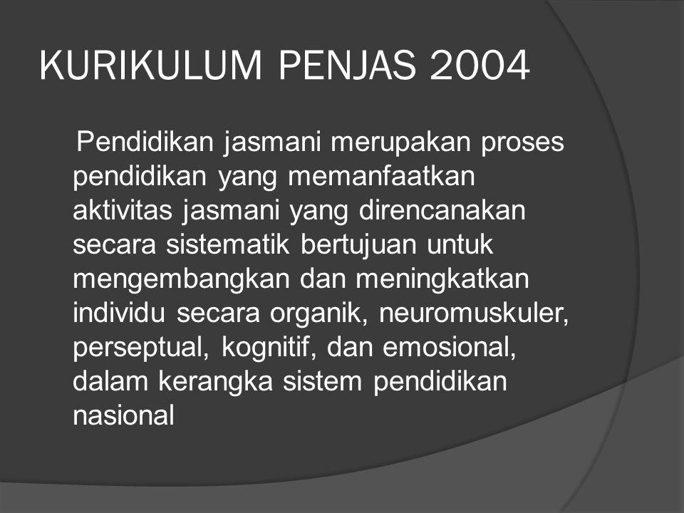 KURIKULUM PENJAS 2004 Pendidikan jasmani merupakan proses pendidikan yang memanfaatkan aktivitas jasmani yang direncanakan secara sistematik bertujuan untuk mengembangkan dan meningkatkan individu secara organik, neuromuskuler, perseptual, kognitif, dan emosional, dalam kerangka sistem pendidikan nasional