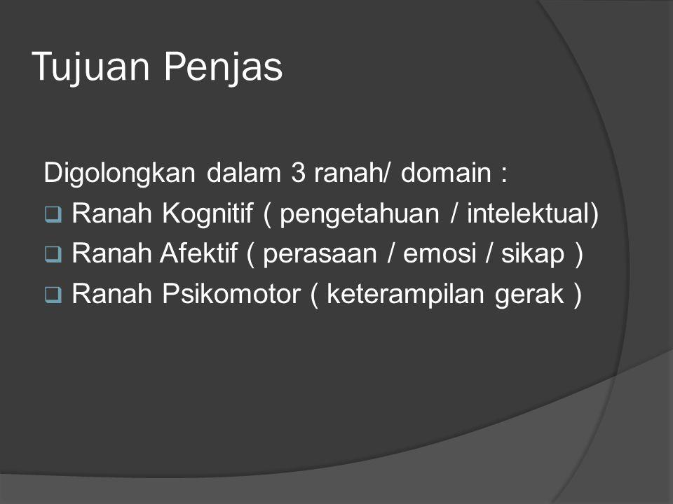 Tujuan Penjas Digolongkan dalam 3 ranah/ domain :  Ranah Kognitif ( pengetahuan / intelektual)  Ranah Afektif ( perasaan / emosi / sikap )  Ranah Psikomotor ( keterampilan gerak )