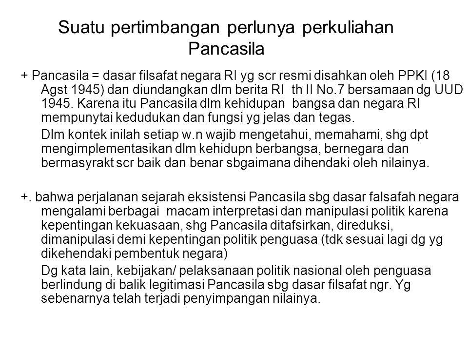 Suatu pertimbangan perlunya perkuliahan Pancasila + Pancasila = dasar filsafat negara RI yg scr resmi disahkan oleh PPKI (18 Agst 1945) dan diundangka