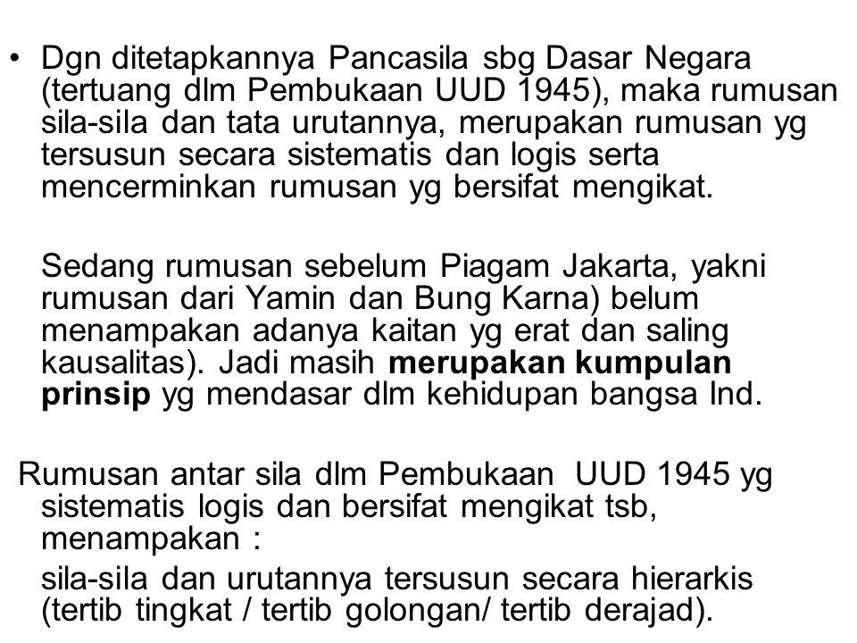 Dgn ditetapkannya Pancasila sbg Dasar Negara (tertuang dlm Pembukaan UUD 1945), maka rumusan sila-sila dan tata urutannya, merupakan rumusan yg tersus