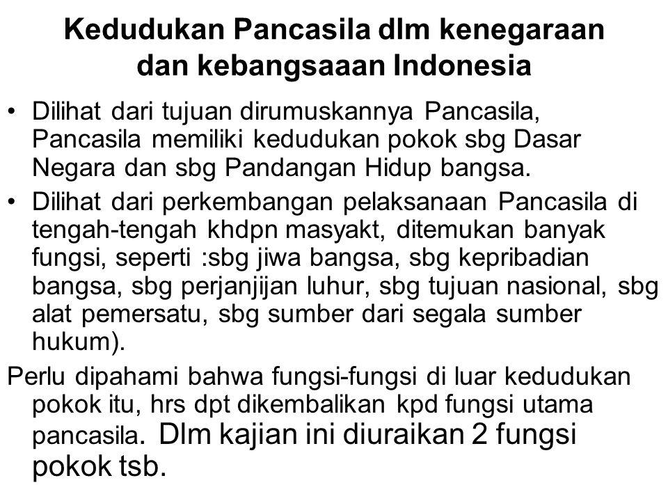 Kedudukan Pancasila dlm kenegaraan dan kebangsaaan Indonesia Dilihat dari tujuan dirumuskannya Pancasila, Pancasila memiliki kedudukan pokok sbg Dasar