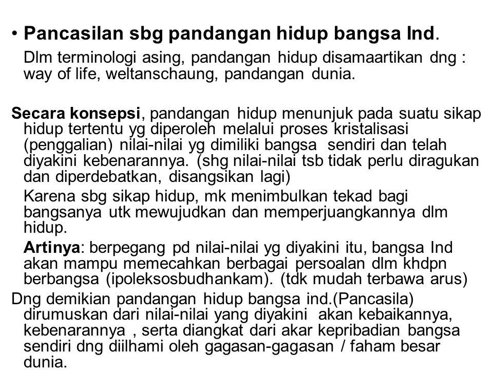 Pancasilan sbg pandangan hidup bangsa Ind. Dlm terminologi asing, pandangan hidup disamaartikan dng : way of life, weltanschaung, pandangan dunia. Sec