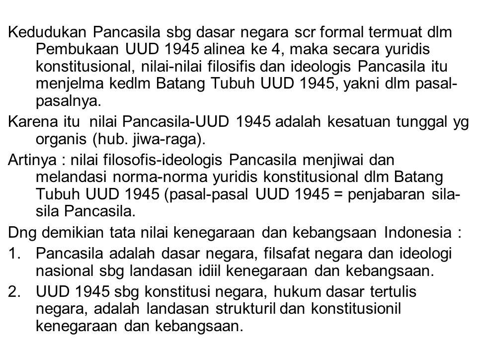 Kedudukan Pancasila sbg dasar negara scr formal termuat dlm Pembukaan UUD 1945 alinea ke 4, maka secara yuridis konstitusional, nilai-nilai filosifis