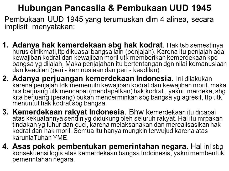 Hubungan Pancasila & Pembukaan UUD 1945 Pembukaan UUD 1945 yang terumuskan dlm 4 alinea, secara implisit menyatakan: 1.Adanya hak kemerdekaan sbg hak