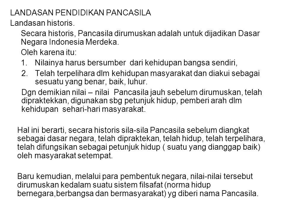 LANDASAN PENDIDIKAN PANCASILA Landasan historis. Secara historis, Pancasila dirumuskan adalah untuk dijadikan Dasar Negara Indonesia Merdeka. Oleh kar