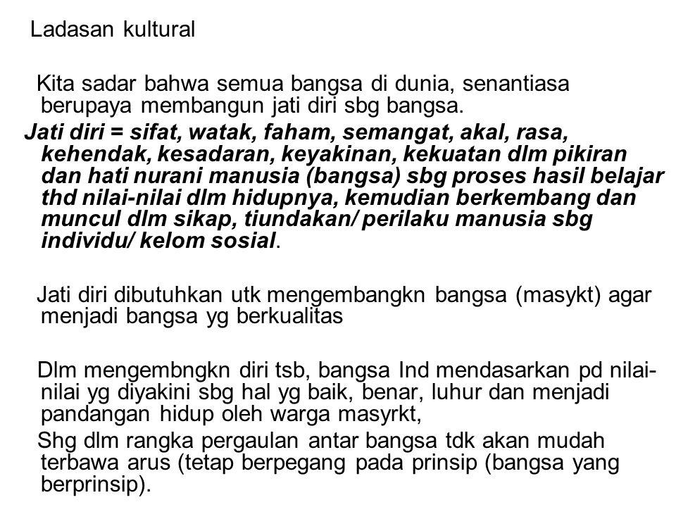 Jadi Pancasila itu bukan hasil pemikiran seseorang, bukan wahyu, bukan hasil perenungan, ttp hasil penggalian dari nilai-nilai yg hidup dlm masyarakat bangsa Indonesia sendiri (masyarakat Indonesia = kausa material Pancasila / asal bahan Pancasila).