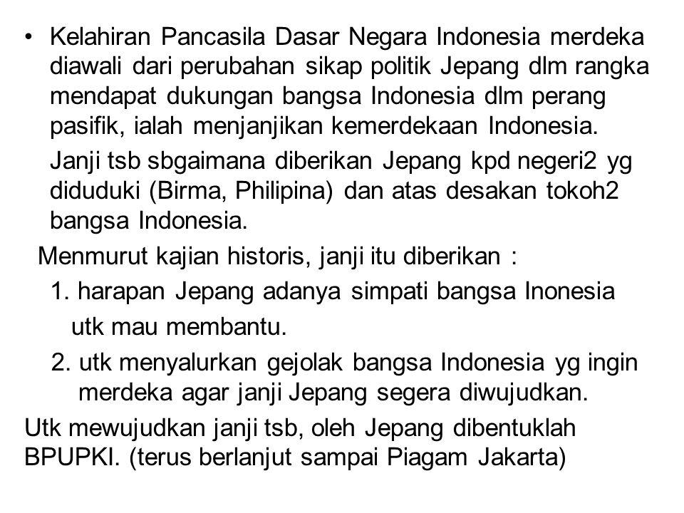 Kelahiran Pancasila Dasar Negara Indonesia merdeka diawali dari perubahan sikap politik Jepang dlm rangka mendapat dukungan bangsa Indonesia dlm peran