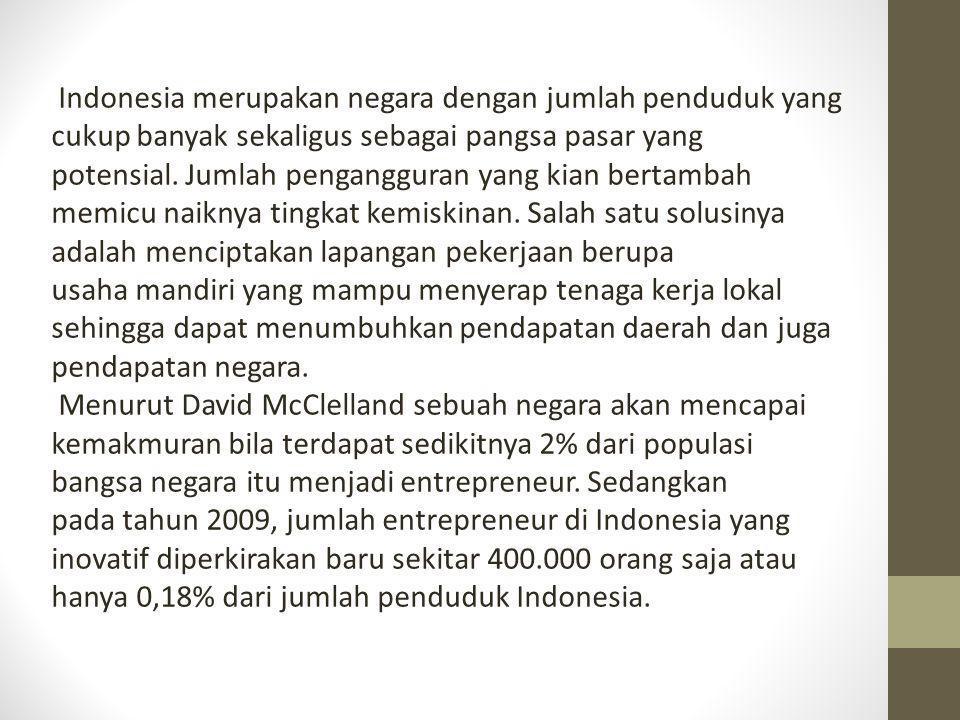 Indonesia merupakan negara dengan jumlah penduduk yang cukup banyak sekaligus sebagai pangsa pasar yang potensial. Jumlah pengangguran yang kian berta