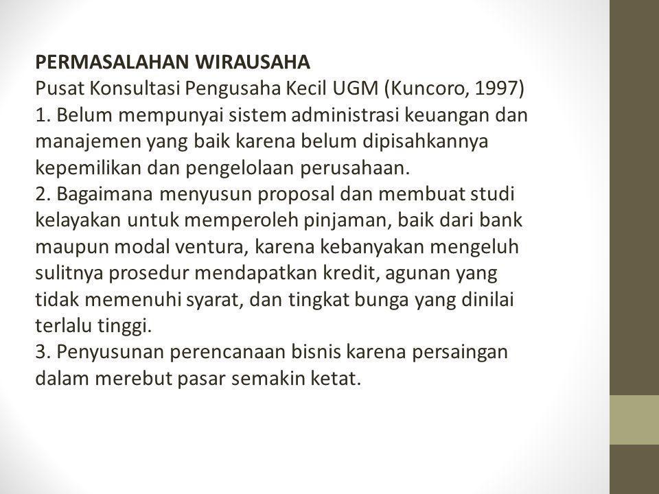 PERMASALAHAN WIRAUSAHA Pusat Konsultasi Pengusaha Kecil UGM (Kuncoro, 1997) 1. Belum mempunyai sistem administrasi keuangan dan manajemen yang baik ka