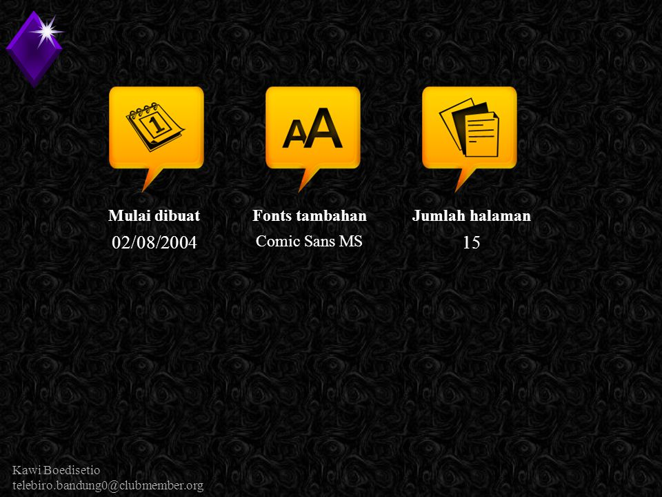 Kawi Boedisetio telebiro.bandung0@clubmember.org Mulai dibuat 02/08/2004 Fonts tambahan Comic Sans MS Jumlah halaman 15