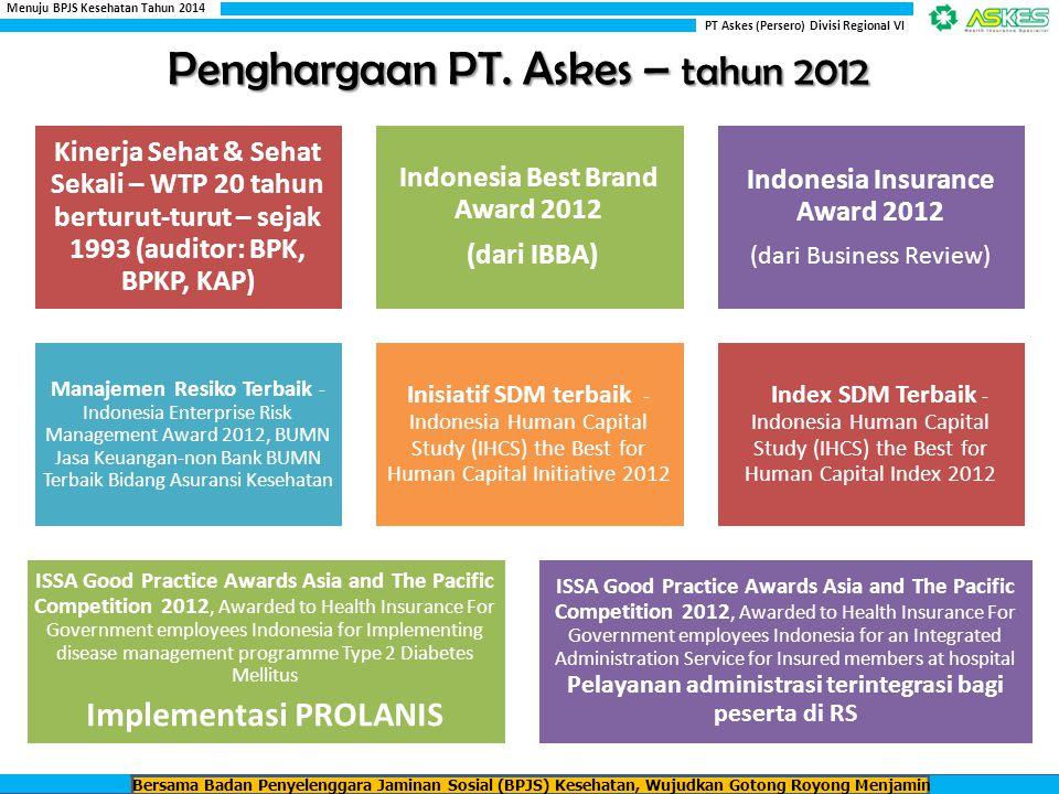 PPDM Tipe 2 PROGRAM PENGELOLAAN PENYAKIT BAGI PESERTA PENYANDANG DIABETES MELITUS TIPE 2 PPHT PROGRAM PENGELOLAAN PENYAKIT BAGI PESERTA PENYANDANG HIPERTENSI PROLANIS Bersama Badan Penyelenggara Jaminan Sosial (BPJS) Kesehatan, Wujudkan Gotong Royong Menjamin Kesehatan Rakyat Indonesia PT Askes (Persero) Divisi Regional VI Menuju BPJS Kesehatan Tahun 2014