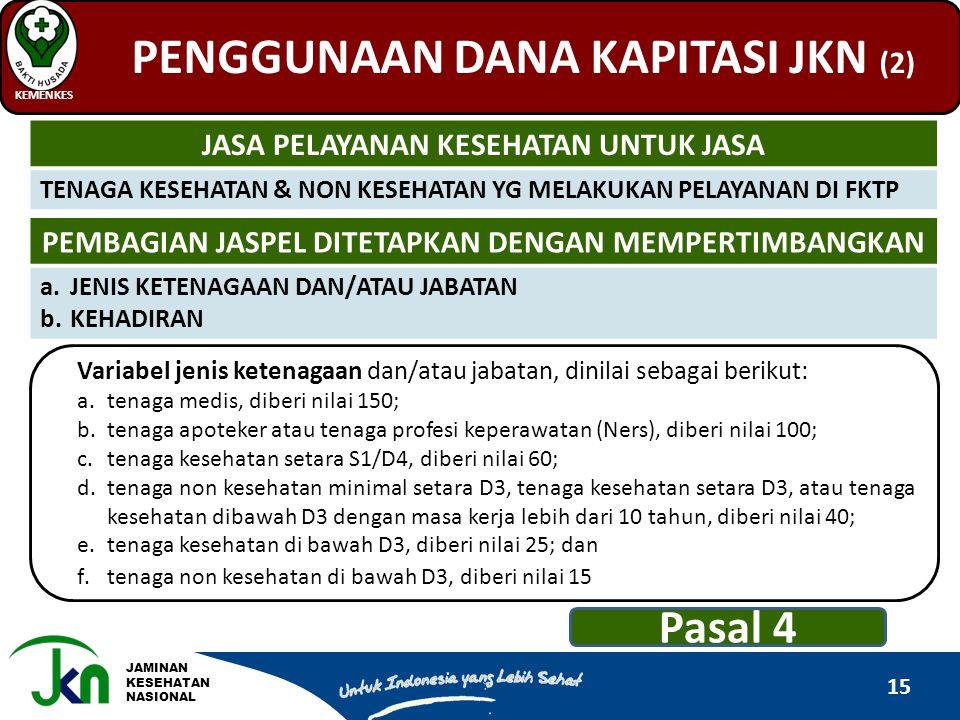 JAMINAN KESEHATAN NASIONAL PENGGUNAAN DANA KAPITASI JKN (2) KEMENKES 15 JASA PELAYANAN KESEHATAN UNTUK JASA TENAGA KESEHATAN & NON KESEHATAN YG MELAKU
