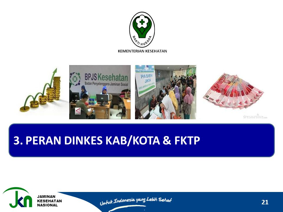 JAMINAN KESEHATAN NASIONAL 21 KEMENTERIAN KESEHATAN 3.PERAN DINKES KAB/KOTA & FKTP