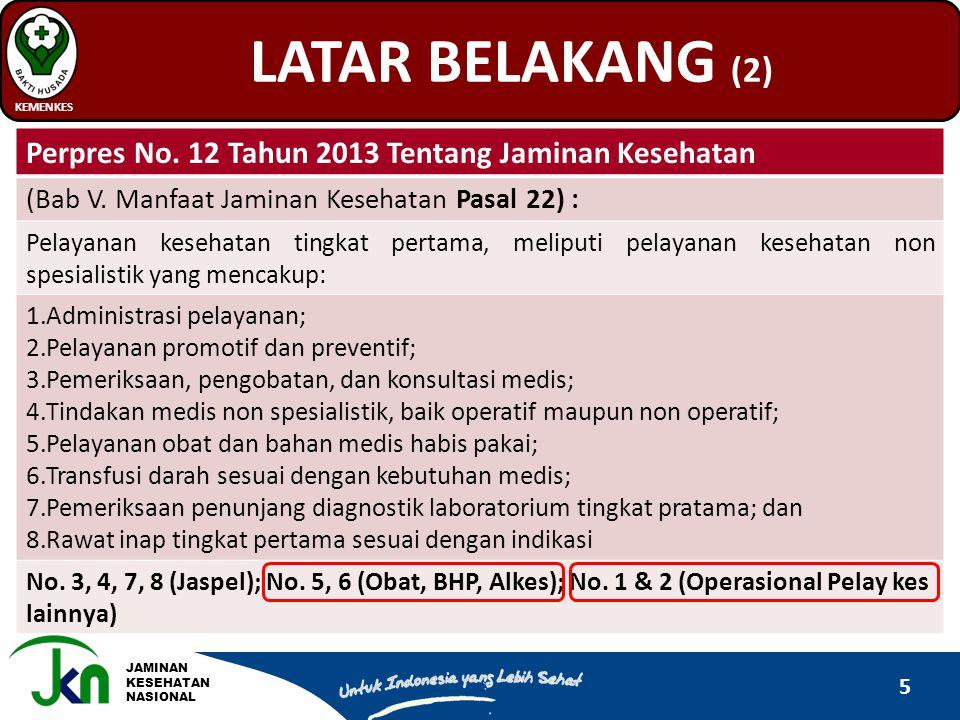 JAMINAN KESEHATAN NASIONAL LATAR BELAKANG (2) KEMENKES 5 Perpres No. 12 Tahun 2013 Tentang Jaminan Kesehatan (Bab V. Manfaat Jaminan Kesehatan Pasal 2