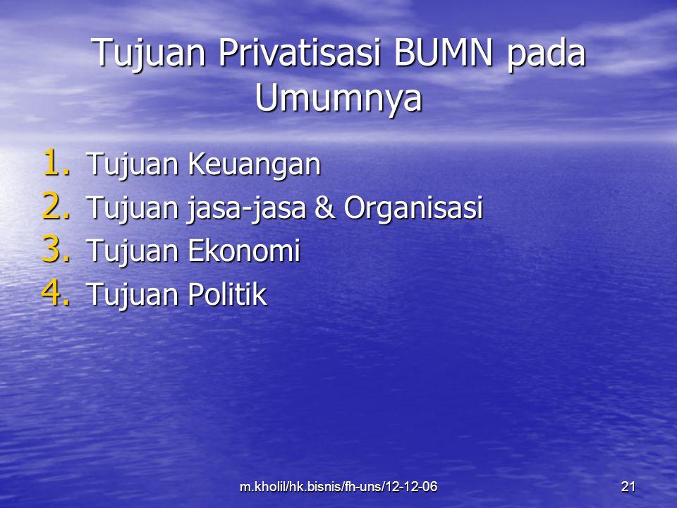 m.kholil/hk.bisnis/fh-uns/12-12-0621 Tujuan Privatisasi BUMN pada Umumnya 1. Tujuan Keuangan 2. Tujuan jasa-jasa & Organisasi 3. Tujuan Ekonomi 4. Tuj