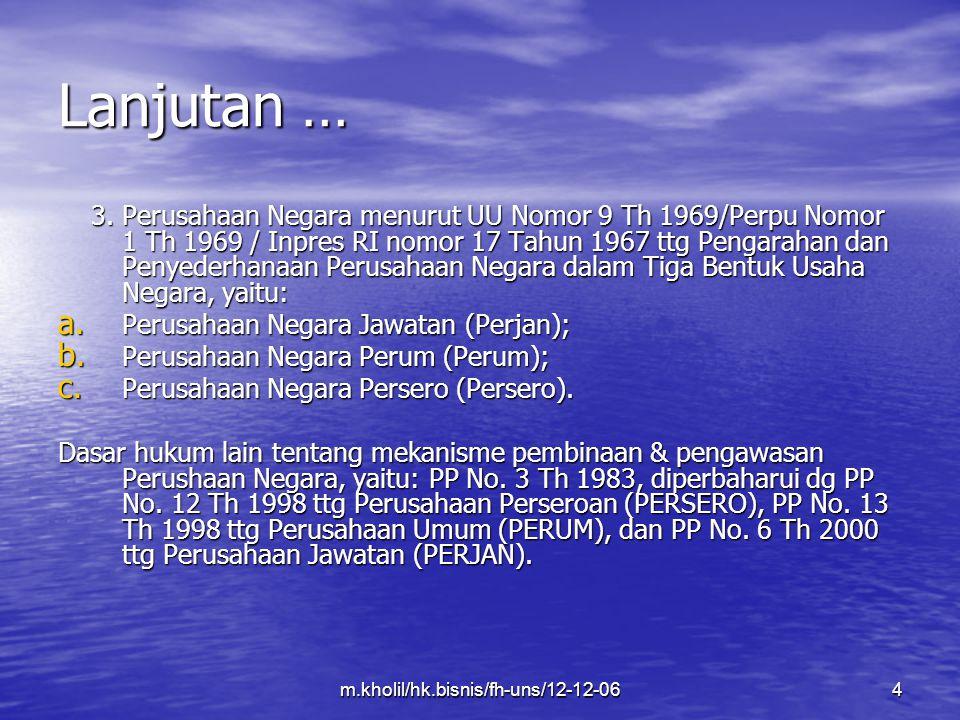m.kholil/hk.bisnis/fh-uns/12-12-0615 Lanjutan… ORGAN: ORGAN: Persero: RUPS, Direksi dan Komisaris.