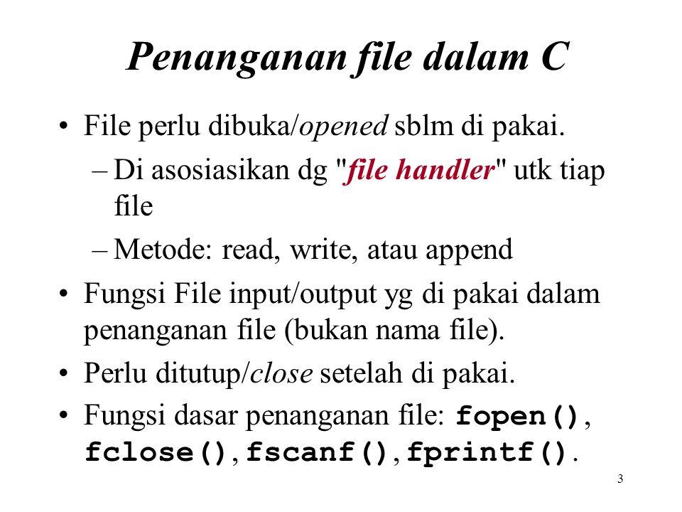 3 Penanganan file dalam C File perlu dibuka/opened sblm di pakai. –Di asosiasikan dg
