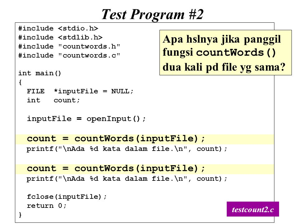 56 Test Program #2 #include #include