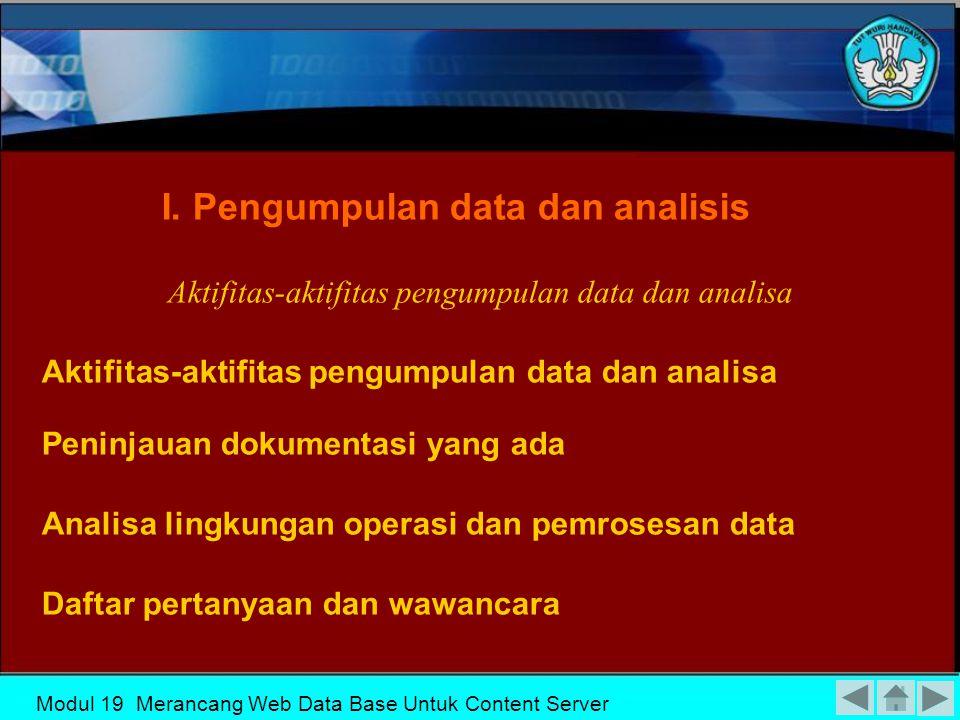 Modul 19 Merancang Web Data Base Untuk Content Server Proses Perancangan Database I Pengumpulan data dan analisis VI Implementasi Sistem database II Perancangan database secara konseptual III Pemilihan DBMS IV Perancangan database secara logika (data model mapping) V Perancangan database secara fisik