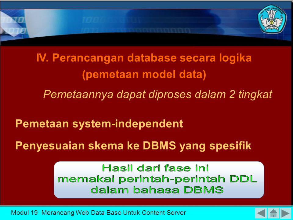 Modul 19 Merancang Web Data Base Untuk Content Server Faktor-faktor ekonomi dan organisasi yang mempengaruhi satu sama lain dalam pemilihan DBMS Tersedianya layanan penjual Struktur data III.