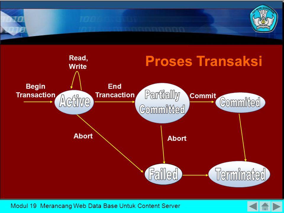 Modul 19 Merancang Web Data Base Untuk Content Server  ROLLBACK (or ABORT)  COMMIT_TRANSACTION  READ or WRITE Status Transaksi dan Operasi Tambahan  BEGIN_TRANSACTION