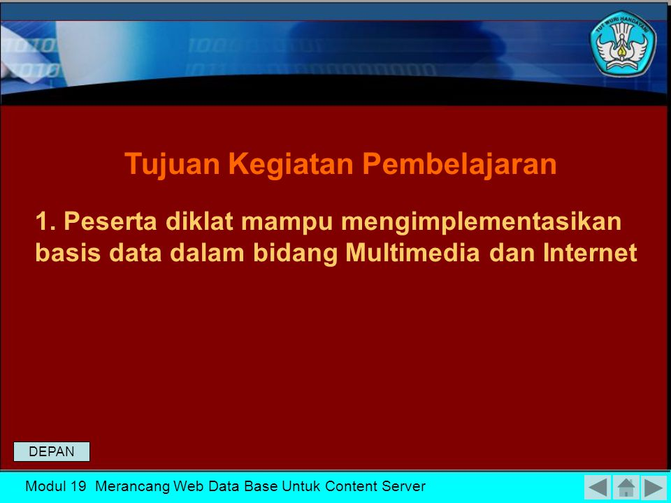 MENGKLASIFIKASIKAN PENGGUNAAN BASIS DATA MERANCANG WEB DATA BASE UNTUK CONTENT SERVER DEPAN