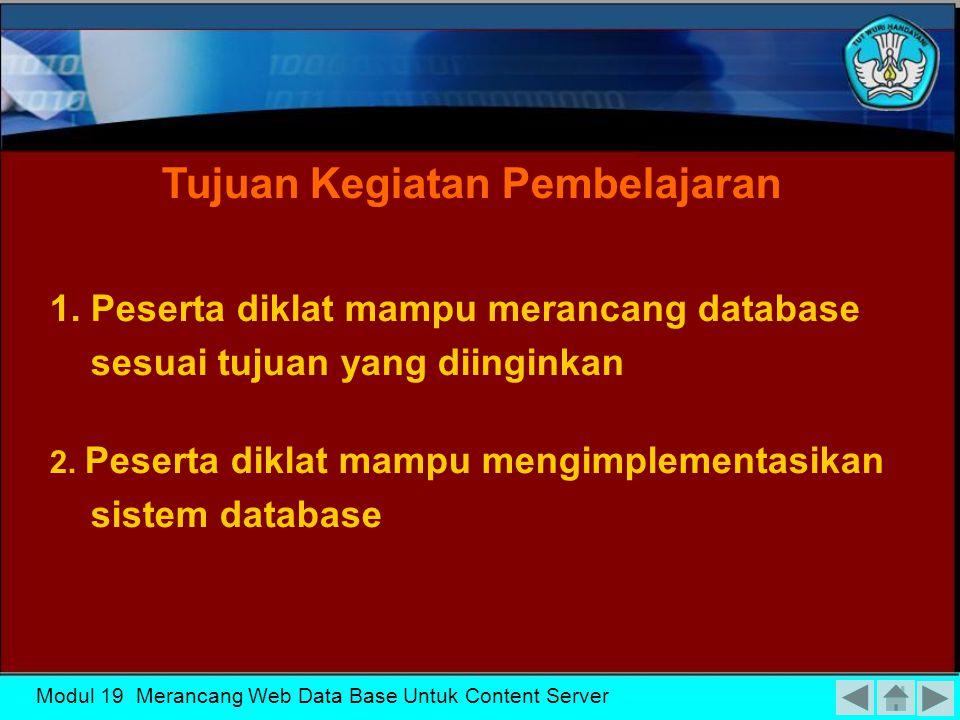 MENENTUKAN PROSEDUR RECOVERY MENENTUKAN KEBUTUHAN SISTEM MERANCANG ARSITEKTUR BASIS DATA MENGKLASIFIKASIKAN PENGGUNAAN BASIS DATA Modul 19 Merancang Web Data Base Untuk Content Server
