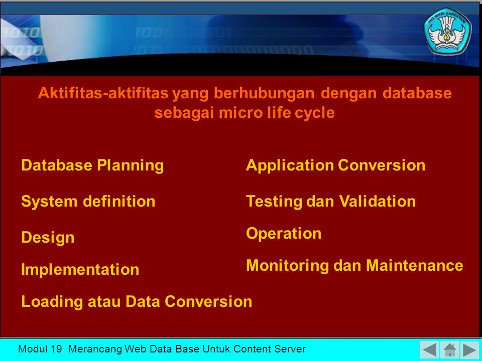 Modul 19 Merancang Web Data Base Untuk Content Server SIKLUSHIDUPSISTEMBASISDATASIKLUSHIDUPSISTEMBASISDATA
