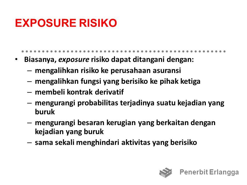 EXPOSURE RISIKO Biasanya, exposure risiko dapat ditangani dengan: – mengalihkan risiko ke perusahaan asuransi – mengalihkan fungsi yang berisiko ke pi