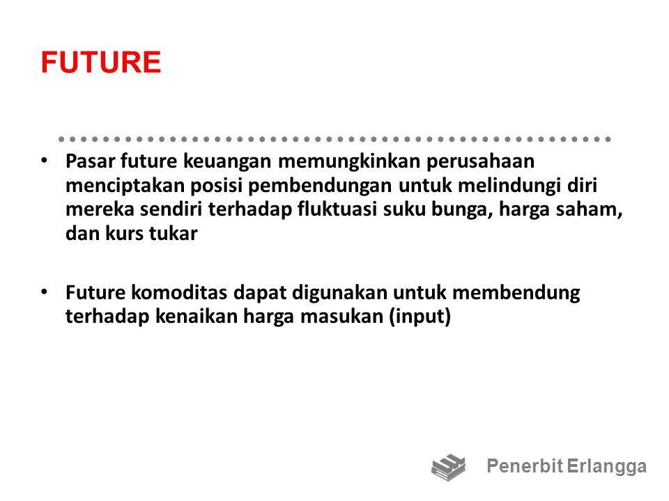 FUTURE Pasar future keuangan memungkinkan perusahaan menciptakan posisi pembendungan untuk melindungi diri mereka sendiri terhadap fluktuasi suku bunga, harga saham, dan kurs tukar Future komoditas dapat digunakan untuk membendung terhadap kenaikan harga masukan (input) Penerbit Erlangga