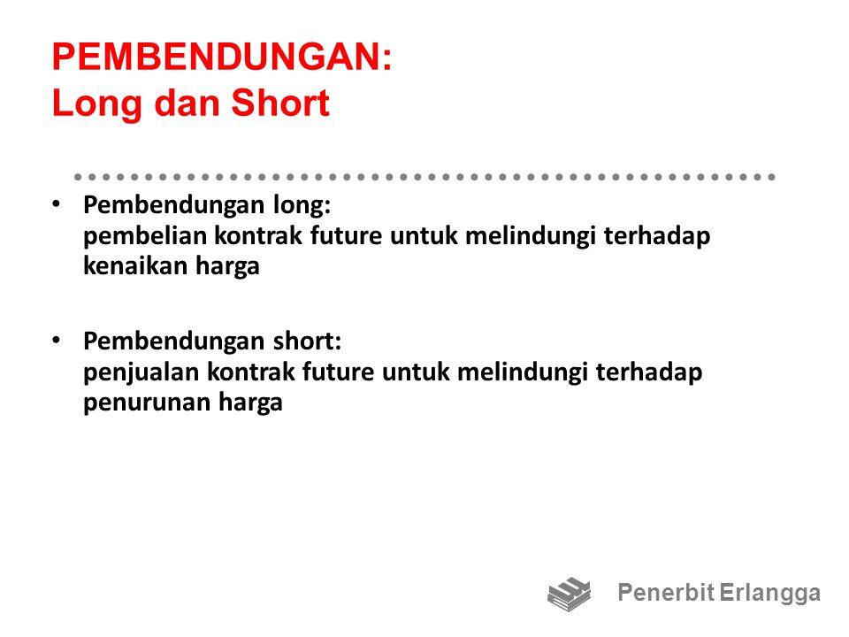 PEMBENDUNGAN: Long dan Short Pembendungan long: pembelian kontrak future untuk melindungi terhadap kenaikan harga Pembendungan short: penjualan kontrak future untuk melindungi terhadap penurunan harga Penerbit Erlangga