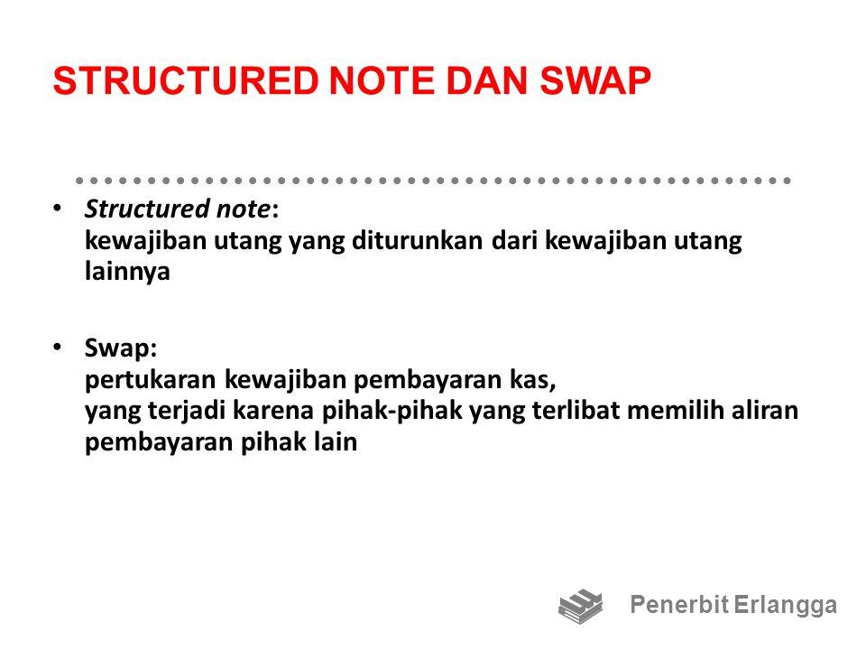 STRUCTURED NOTE DAN SWAP Structured note: kewajiban utang yang diturunkan dari kewajiban utang lainnya Swap: pertukaran kewajiban pembayaran kas, yang terjadi karena pihak-pihak yang terlibat memilih aliran pembayaran pihak lain Penerbit Erlangga