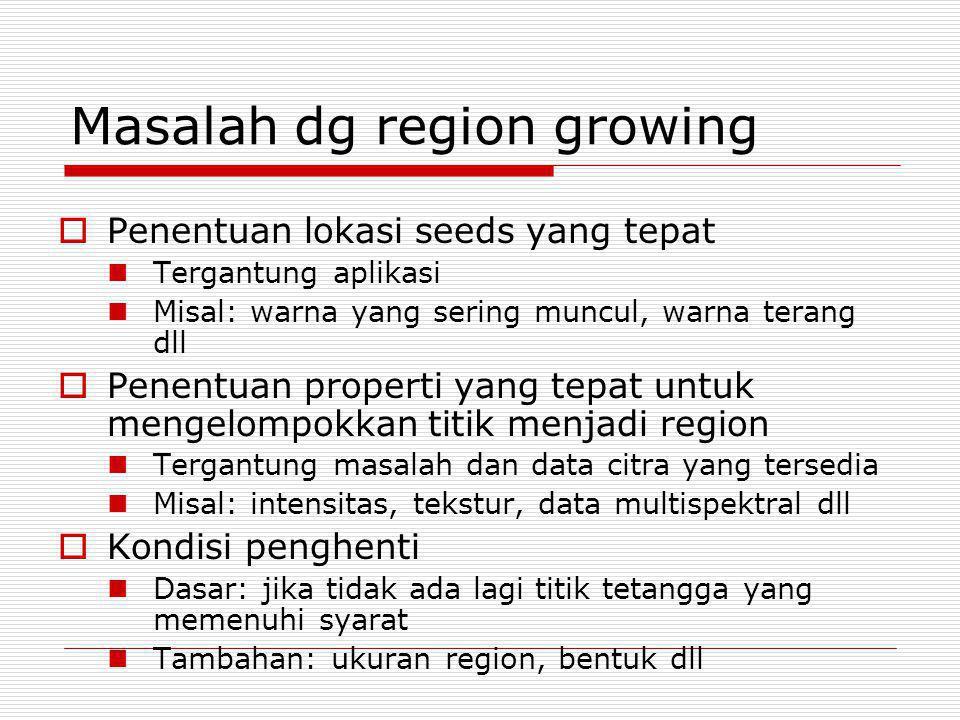Masalah dg region growing  Penentuan lokasi seeds yang tepat Tergantung aplikasi Misal: warna yang sering muncul, warna terang dll  Penentuan proper