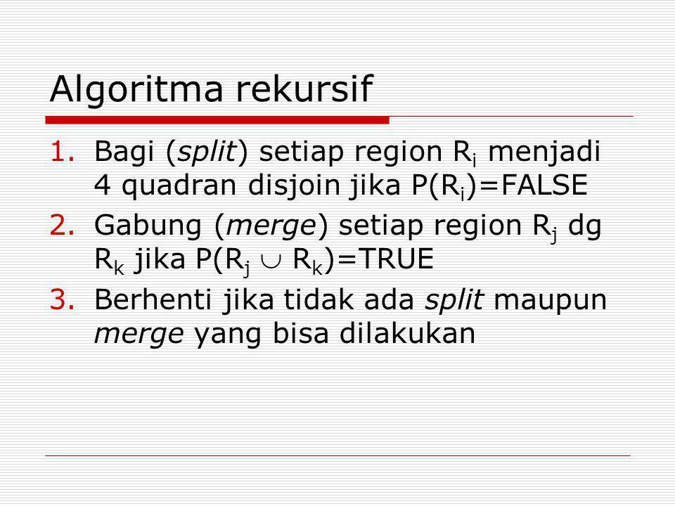 Algoritma rekursif 1.Bagi (split) setiap region R i menjadi 4 quadran disjoin jika P(R i )=FALSE 2.Gabung (merge) setiap region R j dg R k jika P(R j