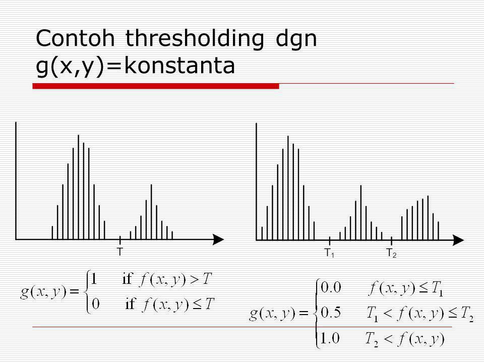 Contoh thresholding dgn g(x,y)=konstanta