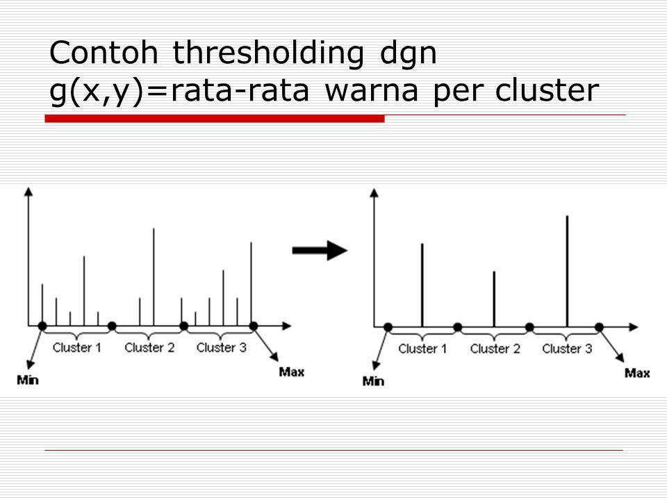 Contoh thresholding dgn g(x,y)=rata-rata warna per cluster