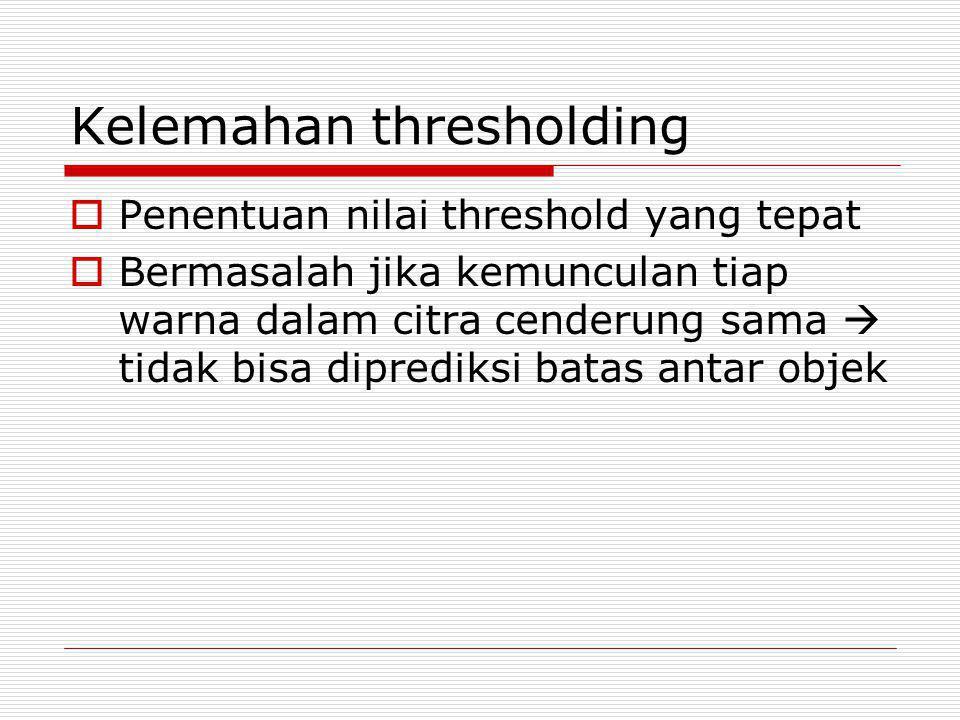 Kelemahan thresholding  Penentuan nilai threshold yang tepat  Bermasalah jika kemunculan tiap warna dalam citra cenderung sama  tidak bisa dipredik