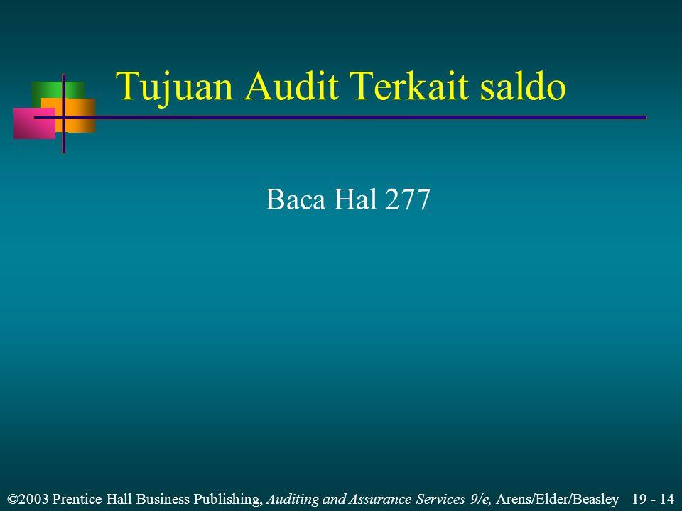 ©2003 Prentice Hall Business Publishing, Auditing and Assurance Services 9/e, Arens/Elder/Beasley 19 - 14 Tujuan Audit Terkait saldo Baca Hal 277