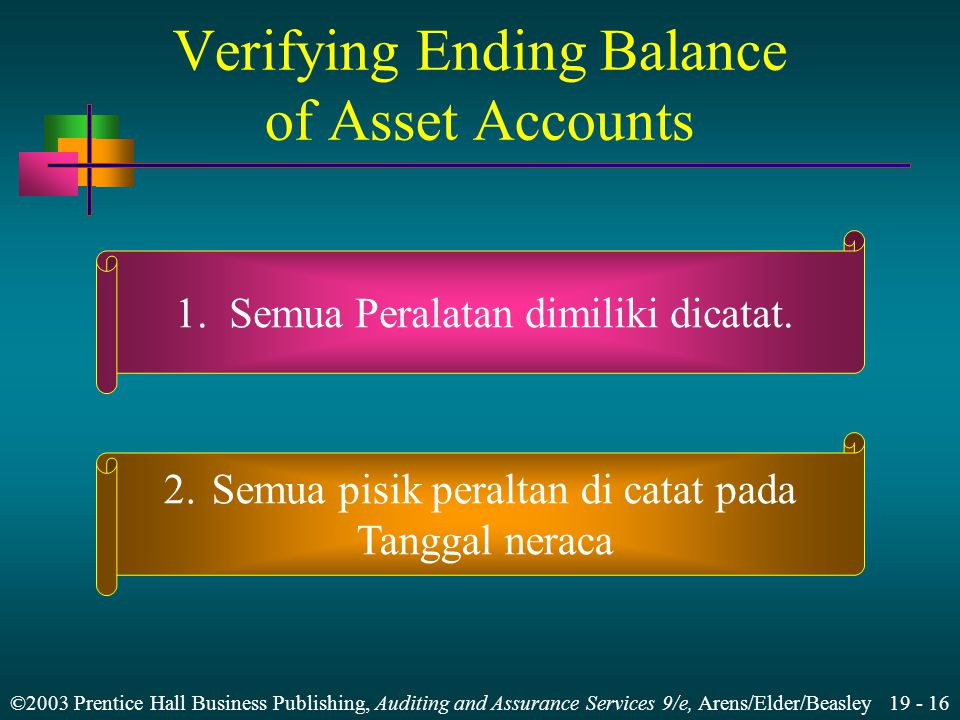 ©2003 Prentice Hall Business Publishing, Auditing and Assurance Services 9/e, Arens/Elder/Beasley 19 - 16 Verifying Ending Balance of Asset Accounts 1