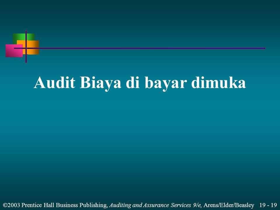 ©2003 Prentice Hall Business Publishing, Auditing and Assurance Services 9/e, Arens/Elder/Beasley 19 - 19 Audit Biaya di bayar dimuka