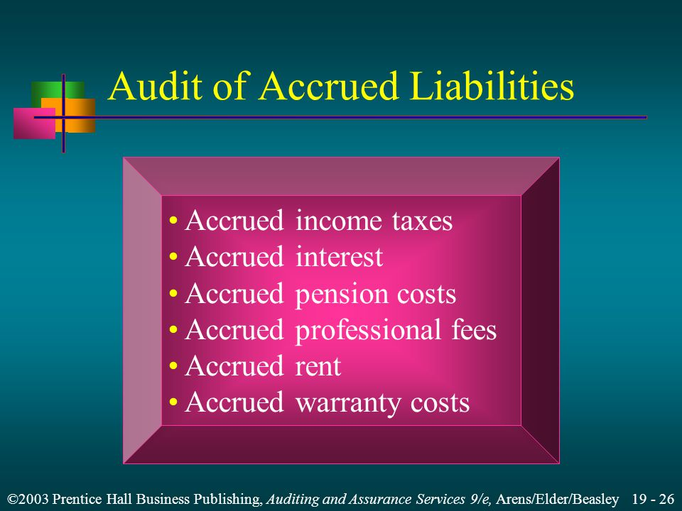 ©2003 Prentice Hall Business Publishing, Auditing and Assurance Services 9/e, Arens/Elder/Beasley 19 - 26 Audit of Accrued Liabilities Accrued income taxes Accrued interest Accrued pension costs Accrued professional fees Accrued rent Accrued warranty costs