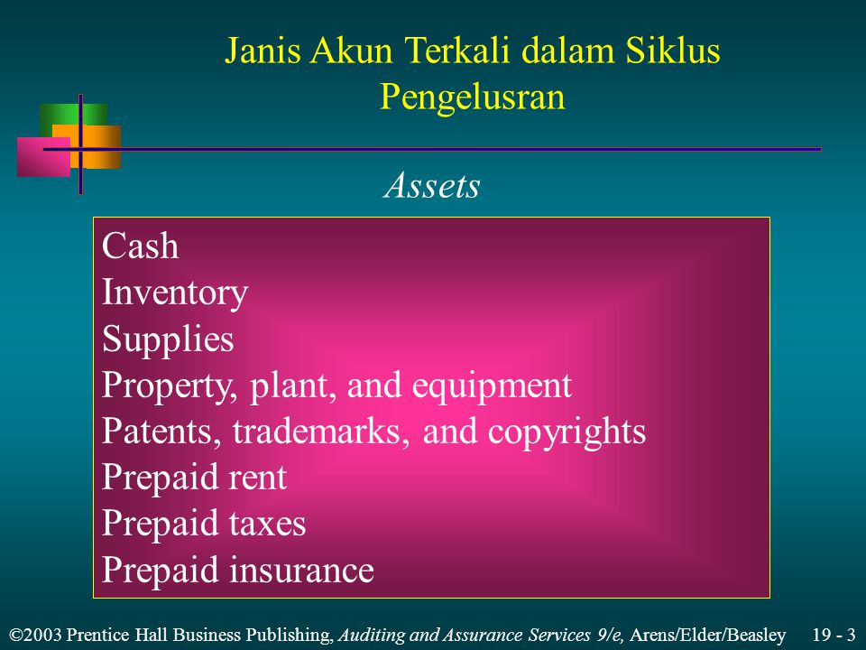 ©2003 Prentice Hall Business Publishing, Auditing and Assurance Services 9/e, Arens/Elder/Beasley 19 - 3 Assets Cash Inventory Supplies Property, plant, and equipment Patents, trademarks, and copyrights Prepaid rent Prepaid taxes Prepaid insurance Janis Akun Terkali dalam Siklus Pengelusran
