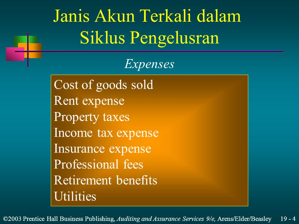 ©2003 Prentice Hall Business Publishing, Auditing and Assurance Services 9/e, Arens/Elder/Beasley 19 - 4 Janis Akun Terkali dalam Siklus Pengelusran Cost of goods sold Rent expense Property taxes Income tax expense Insurance expense Professional fees Retirement benefits Utilities Expenses