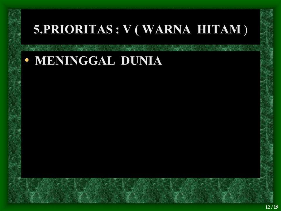 12 / 19 5.PRIORITAS : V ( WARNA HITAM ) MENINGGAL DUNIA