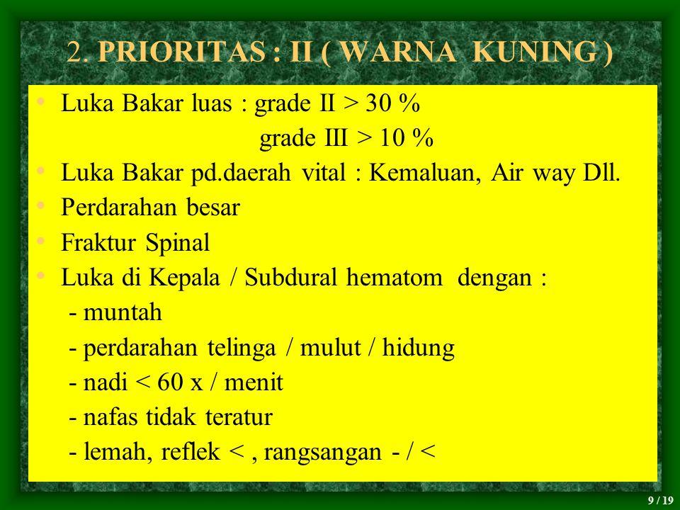 9 / 19 2. PRIORITAS : II ( WARNA KUNING ) Luka Bakar luas : grade II > 30 % grade III > 10 % Luka Bakar pd.daerah vital : Kemaluan, Air way Dll. Perda