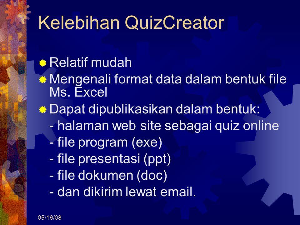 05/19/08 Kelebihan QuizCreator  Relatif mudah  Mengenali format data dalam bentuk file Ms. Excel  Dapat dipublikasikan dalam bentuk: - halaman web