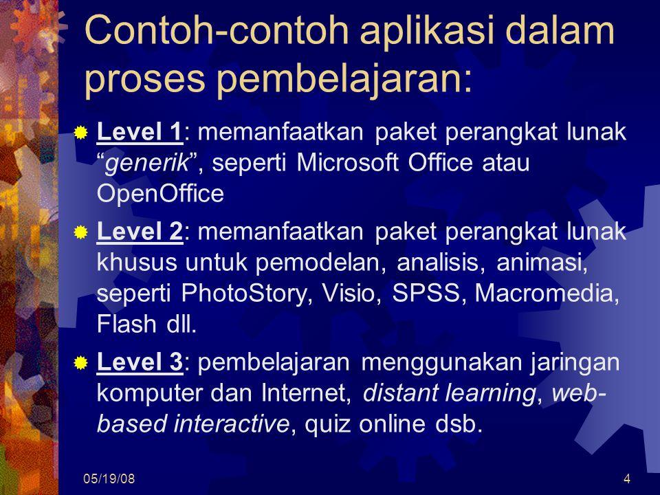 05/19/084 Contoh-contoh aplikasi dalam proses pembelajaran:  Level 1: memanfaatkan paket perangkat lunak generik , seperti Microsoft Office atau OpenOffice  Level 2: memanfaatkan paket perangkat lunak khusus untuk pemodelan, analisis, animasi, seperti PhotoStory, Visio, SPSS, Macromedia, Flash dll.